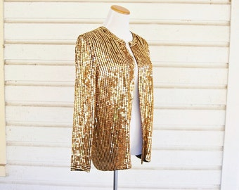 80s 90s Gold Sequin and Bead Bedazzled Slouchy Jacket (Sz M/L)