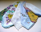 Vintage hankie handkerchief lot Destash Shabby chic crafting rustic wedding crafters