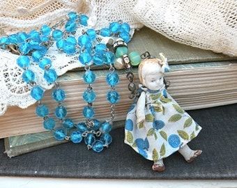 prim doll necklace assemblage vintage rosary recycled jewelry homespun repurposed shabby cottage chic tattered torn