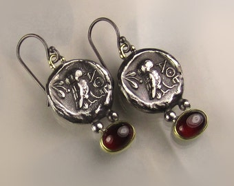 Ancient Greek Coin Earrings, 18k Gold and Sterling Silver Ancient Coin and Garnet Earrings, Athenian Owl Coin Earrings