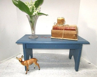 Vintage Wooden Stool, Country Blue w/ Hearts Primitive Farmhouse Display, Sturdy, Milking Stool, Child Seat Step Stool, Handmade, Mini Bench