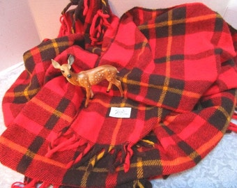 Vintage Plaid Stadium Blanket, Red Black Gold, Faribo Fluff Loomed, Football Game Picnic CollegeTailgate Lap Robe Car Blanket Classic Warmth
