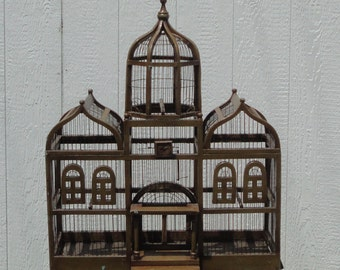 Large Palace Style Wood and Wire Bird Cage. Early 20th Century.