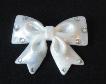 Vintage Faux Mother of Pearl Lucite Bow with Rhinestones Hair Barrette