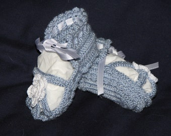 Crochet Lace size 2 Christening Booties for Girls *blue sandals with white roses*  are handmade from heart of Ohio size 2