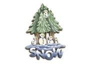 Tiny Hand Painted Winter SNOW Pin | Snowmen & Trees