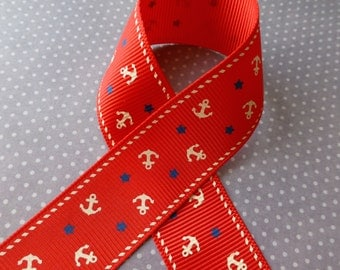 3 meters grosgrain red nautical ribbon with anchor 25 mm, free shipping within UK
