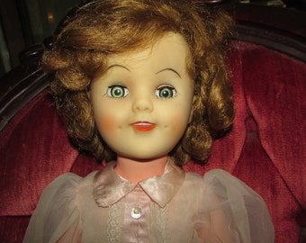 "Large 18"" Vinyl SHIRLEY TEMPLE Doll by A E Original Dress"