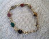 Vintage Jewelry Bracelet Collectible Seven Scarab Bracelet Carla 14K GF