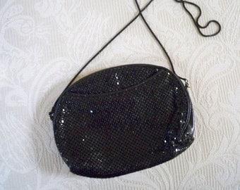 Vintage Purse Black Clutch Dressy Mesh Bag Circa 1970