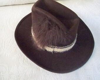 Vintage Accessory Men's Hat Cowboy Hat Western Style Brown Wool Wichita Large