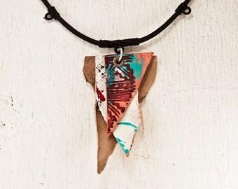 Primitive Necklace Boho Jewelry - Unique Art Pendant Painted Accessories - Rustic Original Fashion OOAK