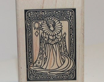 Queen of Diamonds Playing Card Design Rubber Stamp