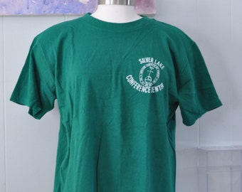 Vintage Tee Silver Lake Conference Center Sharon CT Ministry Church Christ Kelly Green TShirt Tee Ladies Large