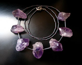 Amethyst Necklace, Rough Amethyst Nuggets, Gray Seed Beads, Long Amethsyt Necklace, Amethyst Jewelry, Rough Stone Necklace, Purple Gray