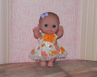 8LC1-51) 8 inch Lil Cutesie Berenguer baby doll clothes, 1 pretty dress with panties