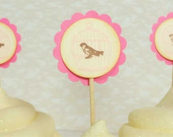 Cupcake Toppers Pink Birdcage Wedding Birthday Baby Shower Bird Cage Theme Set of 25