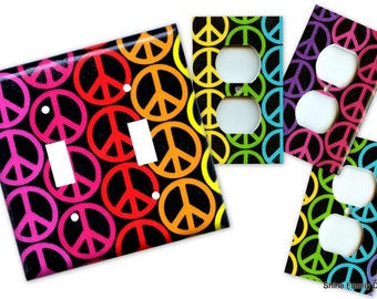 Rainbow Peace Signs Double Light Switch Plate/Outlet Covers Set