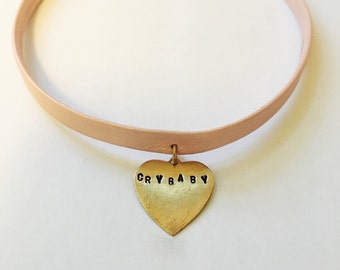 Crybaby pink leather choker