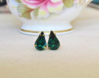 Emerald Green Swarovski Earrings Ear Studs Vintage Crystal Teardrop Pear Glam It Up Jewellery dspdavey Jewelry Cute Small Miniature