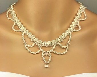 Ivory Pearl Beaded Necklace Set Bridal Necklace Ivory Pearl Beaded Necklace  Antique Look Trinette