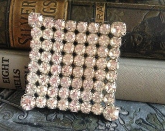 Gorgeous Large Vintage Rhinestone Square Brooch