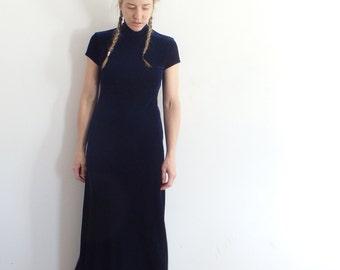 Velvet Dress Vintage Blue High Collar