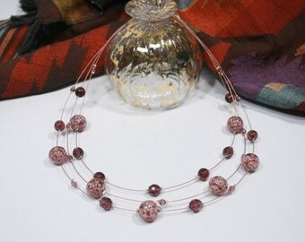 Necklace Murano glass, Violet color