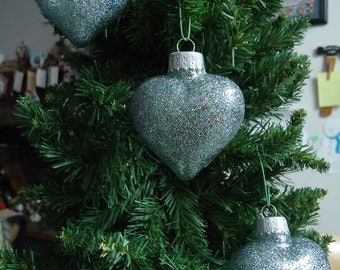Set of 3 Multi Colored Glass Heart Christmas Tree Ornaments