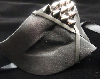 Spiked, Sheer Fabric Covered Mask with Silver Spikes and Leather Trim