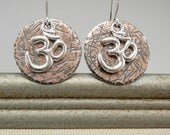 Om Earrings, Om Charm, Om Jewelry, Om Symbol, Mixed Metal Earrings, Copper Earrings, Copper Disc Earrings, Silver Om, Copper and Silver