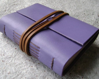 "Handmade Leather Journal, 3.5""x 4.5"", lavender journal (2107)"