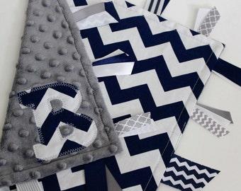 taggie, blanket, personalized, baby, boy, gift, minky, ribbon, navy, chevron, gray, tag, texture, sensory, silky, lovey