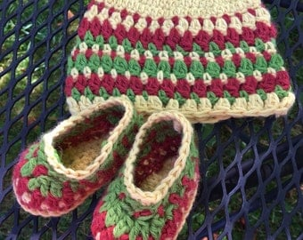 Colorful Baby Alpaca Booties and Hat Set, Baby Alpaca Yarn, Ready to Ship