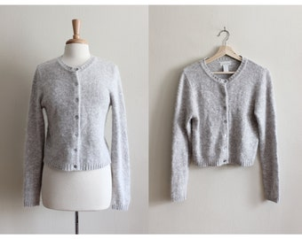 Vintage Grey Silk Angora Cardigan Sweater