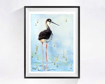 Shore Bird Painting Original Beach landscape Watercolor coastal bird Watercolour black white wall art painting Black Neck Stilt 12 x 9 in.