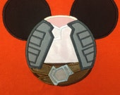 STAR WARS Movie Mr. Mouse ears  Hans Solo appliqued on a unisex short sleeved t-shirt children and adult sizes