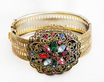 Czech Multi Color Hinged Bangle Bracelet