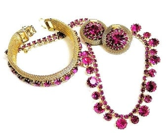 Weiss Hot Pink 3 Piece Set  Necklace Earrings and Bracelet