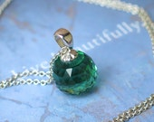Emerald Green Quartz Pendant | Micro Faceted Round Quartz in Argentium Sterling Silver Cable Chain Necklace | Gift for Her | Made to Order