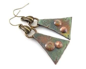 Green and Copper Metal Earrings - Enameled Earrings - Artisan Earrings - Industrial Earrings - Boho Earrings - Brass Earrings - AE096