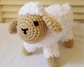 Crochet Sheep Stuffed Animal / Tan And White/ Crochet Doll / Amigurumi Toy/ Handmade Toys/ Gift For Kids/ Plush Farm Animals