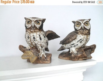 FALL SALE Pair of Vintage Owl Figures by Homco