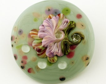Lampwork Glass Cabochon SRA Flower Focal for Beadwork or Bezel with Flowers, Purple Pink Green