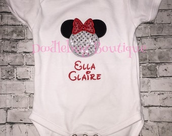 Epcot Minnie Mouse infant bodysuit with name