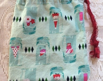 Bag, Drawstring, Knitting, Lunch, Produce, Art Supplies, Toys, Holiday Glass Project Bag