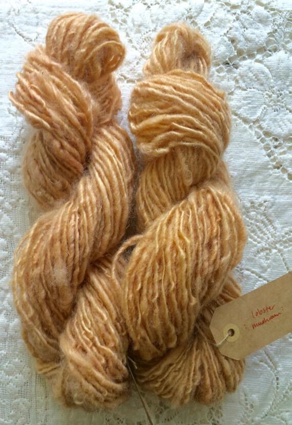 Yarn, Hand Spun, Mushroom Dyed, Maine Shetland Wool, Single Ply, Worsted Weight, Lobster Mushroom
