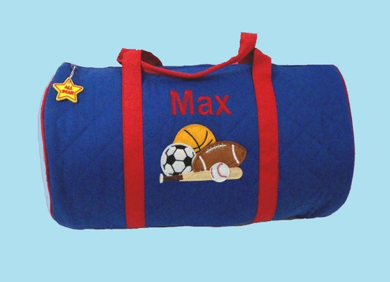 Child's Monogrammed Stephen Joseph SPORTS Themed Blue Duffle Bag