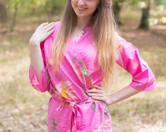 Dark Pink Pink Large Floral Blossoms Patterned Robe | Kimono Style getting ready robe for wedding day, bridal shower, dressing gown