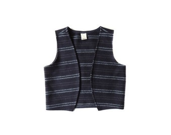 SALE Wool Navy Striped Vest